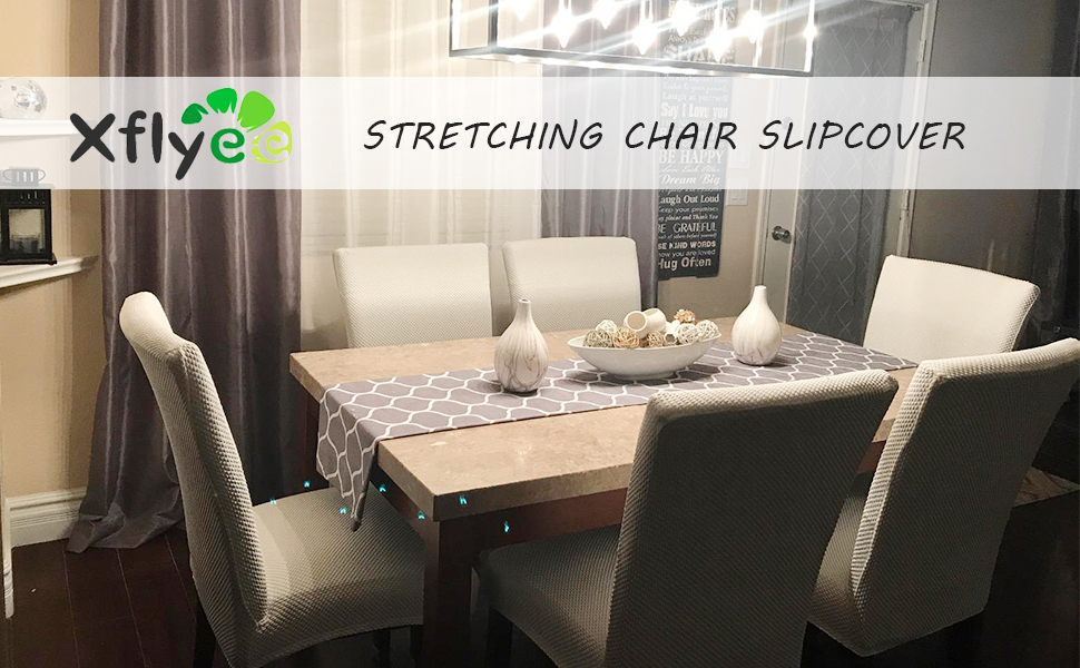 Amazon Com Xflyee Stretch Dining Room Chair Covers Jacquard Removable Washable Kitchen Parson Chair Slipcovers Set Of 4 Cremek 4 Pack Home Kitchen