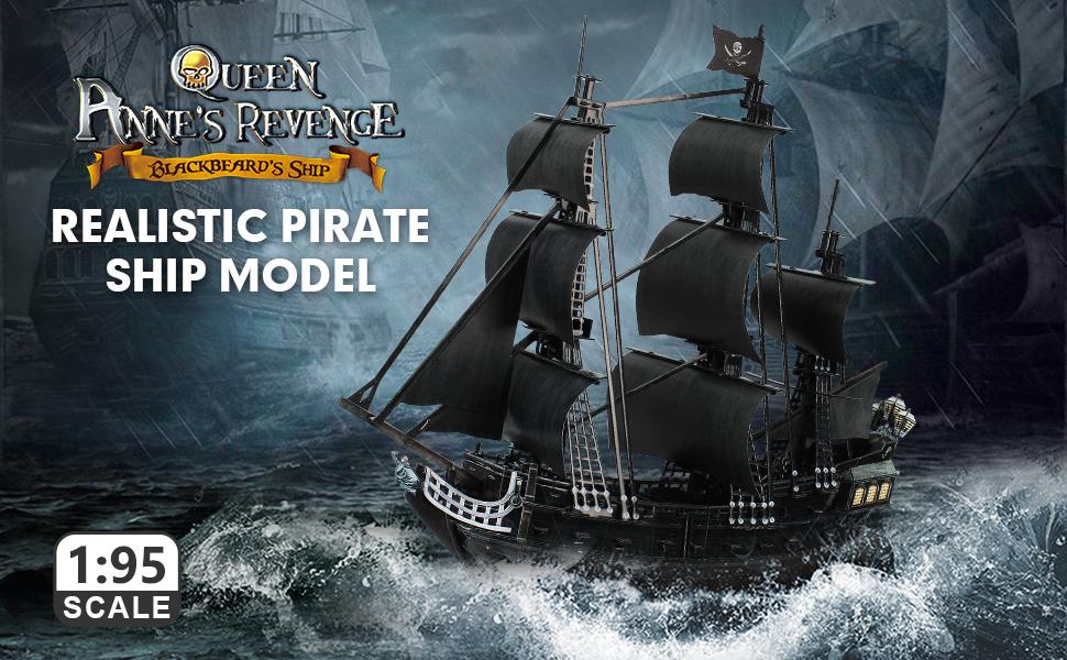 Grandes y dif/íciles La Venganza de la Reina Ana Ourine 3D Puzzle Barco Pirata Maqueta de Barco y Barco Kit de Barco para Adultos