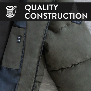 "A gray coat with an illustration of a needle and thread in front of it. Says ""quality construction."""