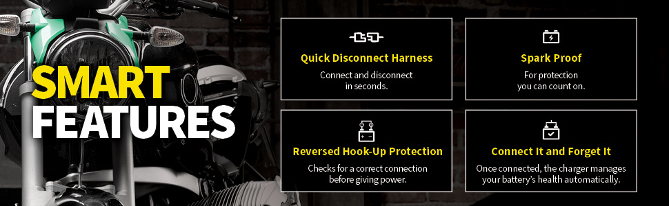 Smart features include quick disconnect harness, spark proof safety, reverse hook-up protection.