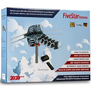 Five Star Outdoor Digital Amplified HDTV Antenna - up to 150 Mile Long Range