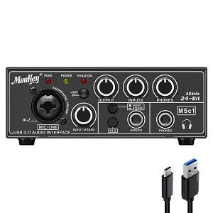 Moukey USB 3.0 Audio Interface, Microphone Preamps, with 48V Phantom Power, 24 Bit