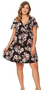plus size mini, plus size wrap dress, floral mini, plus size floral mini