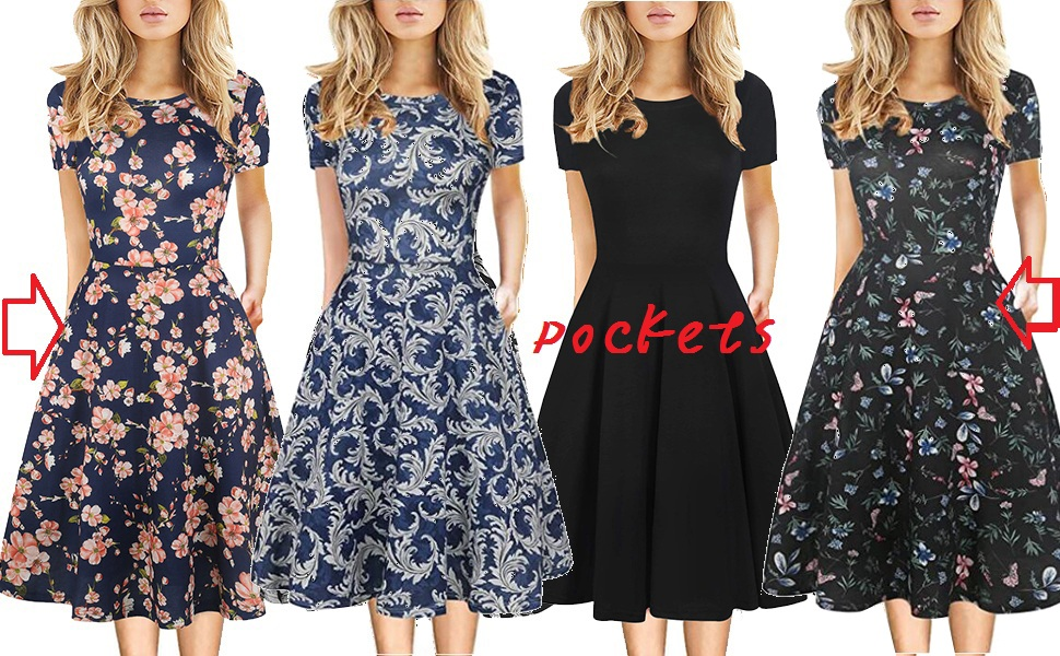 Women Vintage Work Casual Round Neck Floral Cocktail Party A-Line Dress with Pockets Knee length