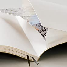 Gusseted pocket containing a loose sheet of paper