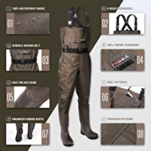 hisea pvc chest waders for men with boots