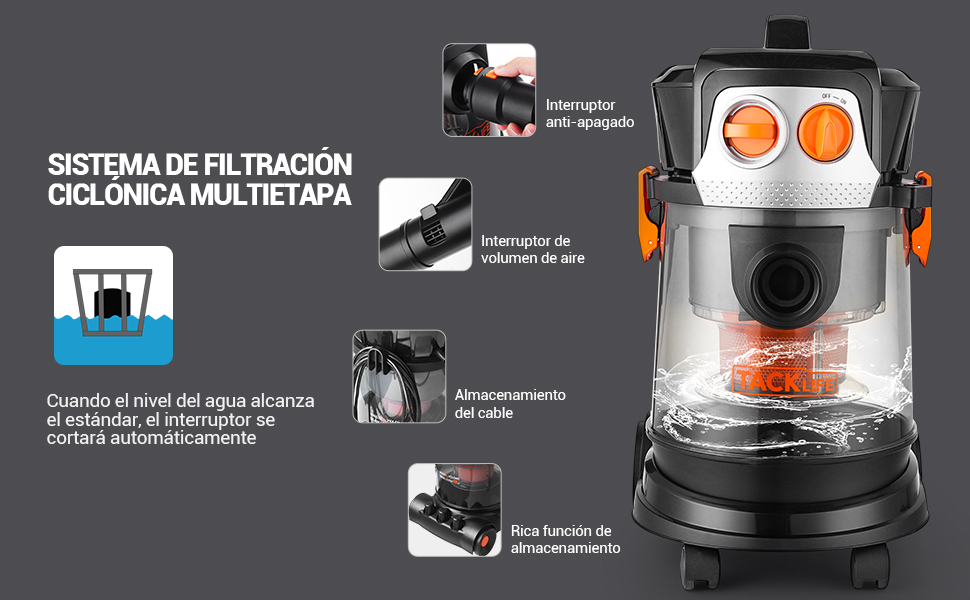TACKLIFE Aspirador Seco Húmedo, 1000W 15L Aspiradora Hogar, 70db ...