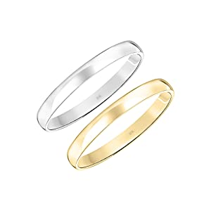 10K White or Yellow Gold 3MM Classic Plain Simple Wedding Band