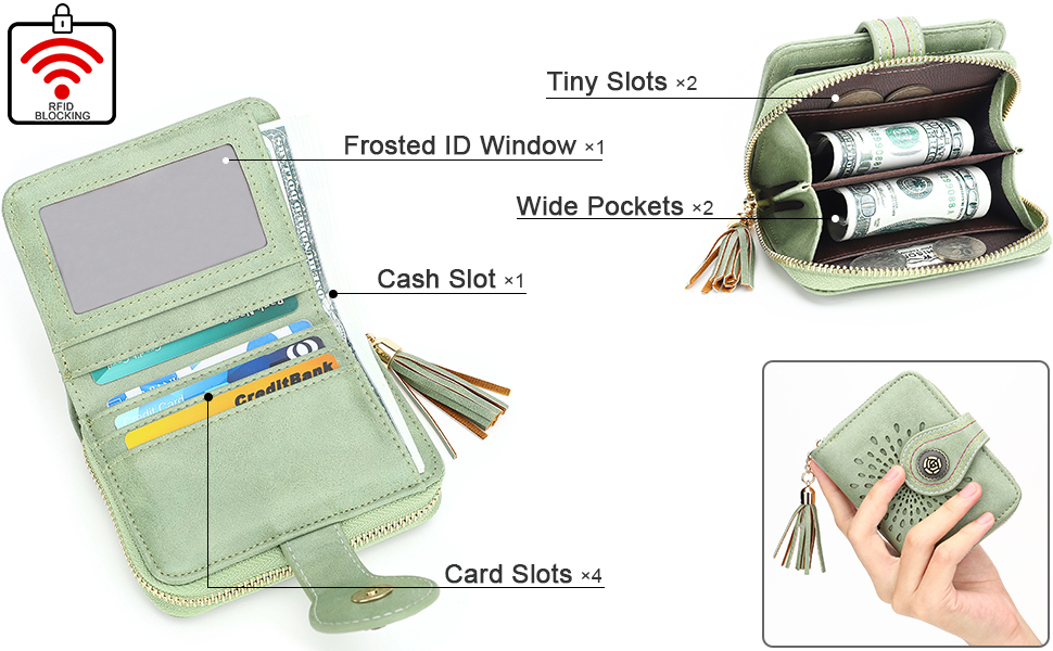 womens small wallet rfid blocking card purse for ladies