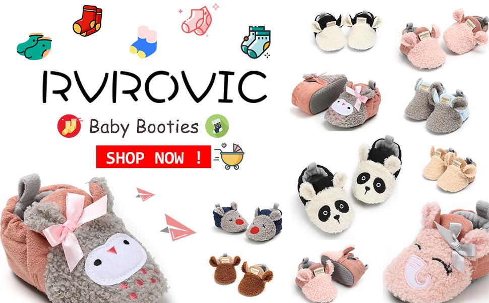RVROVIC Baby Boys Girls Cozy Fleece Boots with Non Skid Bottom Warm Winter Socks Slippers