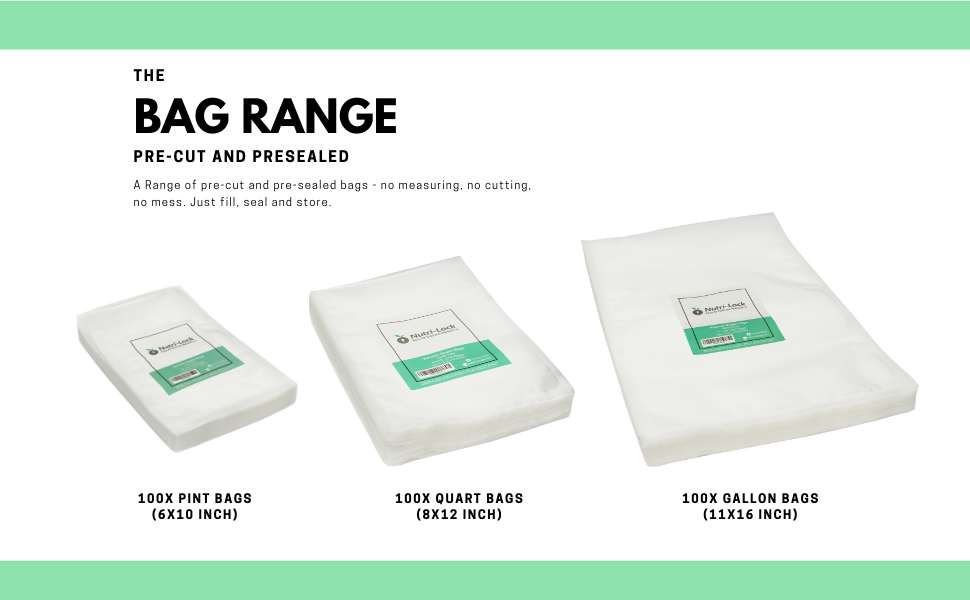 nutri-lock standard sealer bags range pint quart gallon