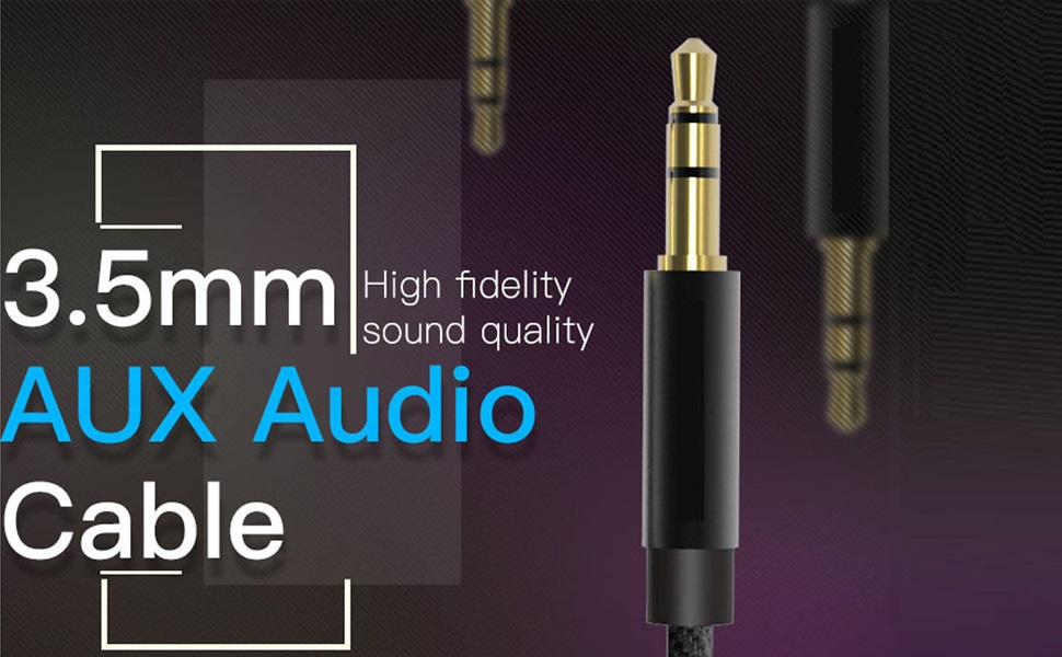 3.5mm Gold-Plated Connector Auxiliary Audio Cable Aux Cord