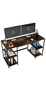 55'' Computer Desk with 4 Bookshelves