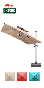 11 ft large patio offset umbrella beige