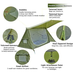 OneTigris Tent for 1-2 Person Backwoods Bungalow 2.0 Camping Tent Lightweight Pop Up Tent Waterproof 4 Season Bushcraft Shelter Tent for Hiking Outdoor Reusable Packaging Coyote Brown
