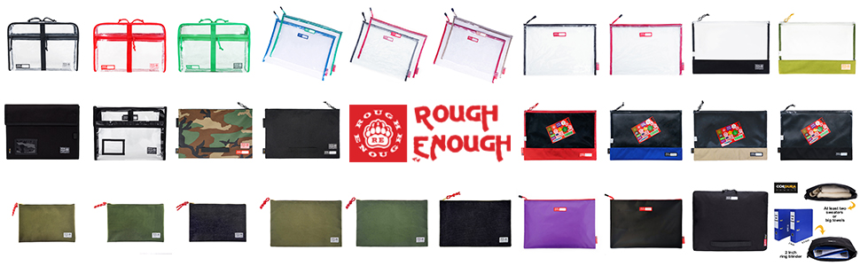 Rough Enough Large Clear File Folders Legal A4 Letter Document Bag Zipper Pouch for School Supplies
