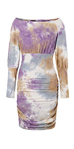 boat neck mini dress ruched dresss long sleeve tie dye dress mini bodycon dress party dress office