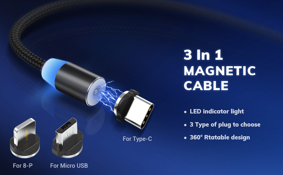 TD Lightning Cables Magnetic Cable for USB Cable Head 360/° Rotating Cable 1M Charging Cable Fast