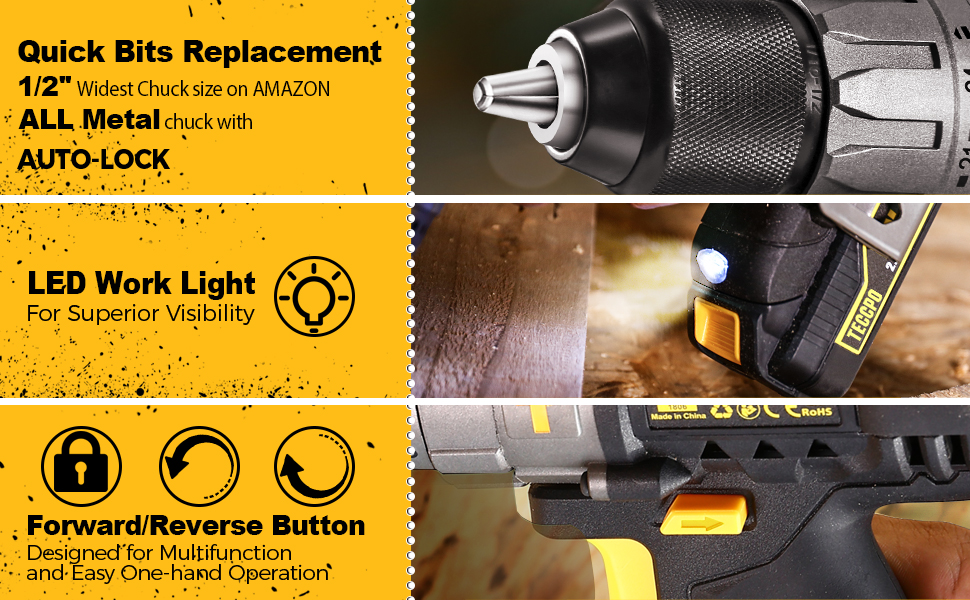 1/2 Metal chuck, LED drill, Forward and Reverse Button