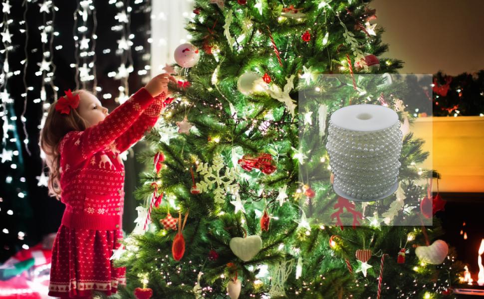 JINLL 5 M collier de perles en plastique guirlande de perles ruban de perles rouleau d/écoration cha/îne cha/îne pour mariage bricolage blanc
