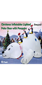 Christmas Inflatables Lighted Polar Bear with Penguins