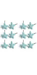 Starfish Anti Rust Decorative Resin Shower Curtain Rings Hooks for Bathroom Bedroom Baby Living