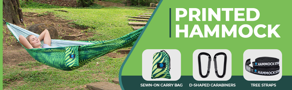 Printed Hammock- Sewn on carry bag, D Shaped Carabiners, Tree Straps.