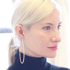 Humble Chic Rhinestone Hoop Earrings - Simulated Diamond CZ Crystal Statement Ear Jacket Loops