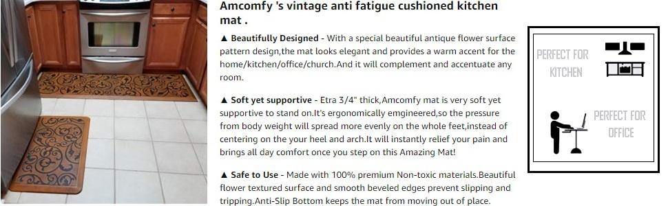 Amazon Com Amcomfy Premium Kitchen Anti Fatigue Mat