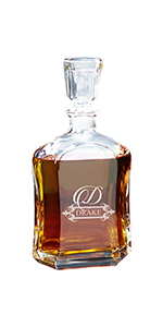 Custom Personalized Whiskey Decanter, Engraved Customized Bourbon Scotch Decanter