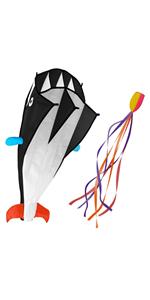 3D Kite Large Black Dolphin