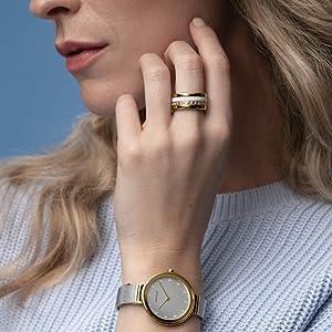 Bering Men's Women's Ring-Kombi Ring Behring Skagen Jewelry Danish Design Ceramik Swarovski Elements