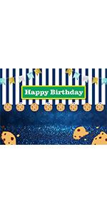 Blue White Stripe Bokeh Shining Spots Gold Background Vinyl 5x3ft Dessert Decor