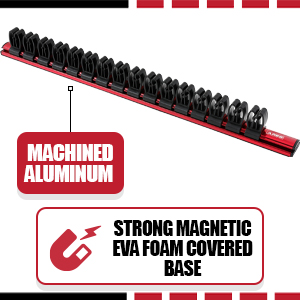 Strong Magnetic base covered in EVA foam attaches to ferrous metal surfaces without damage