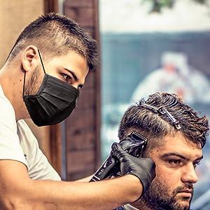 barber black mask  gloves tattoo artist