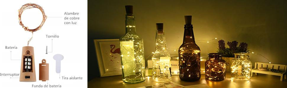 BACKTURE Luz de Botella [20 Pack], Guirnaldas Luminosas Botellas ...