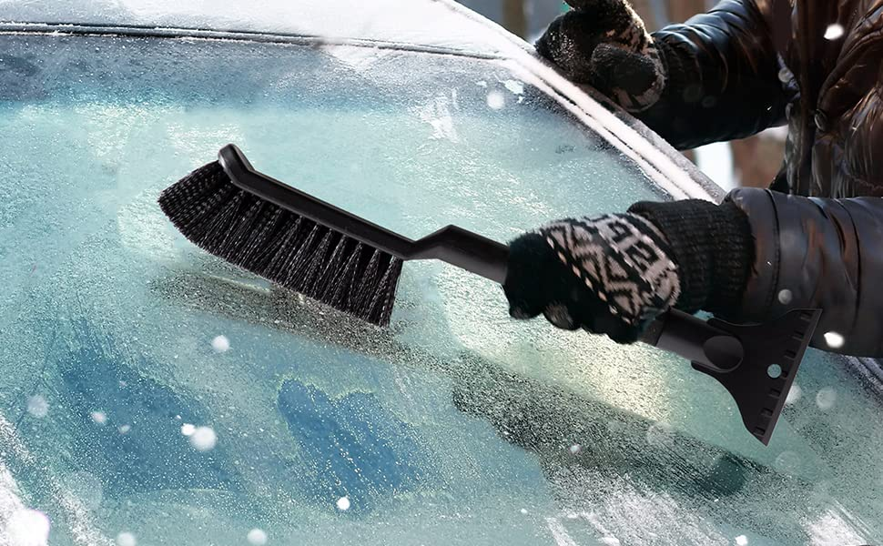 2-in-1 Car Snow Remover Anti Slip Anti Scratch Ice scraper with brush