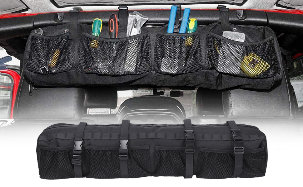 Jeep Wrangler Roll Bar Storage Bag Organizer Tools Bags for 1987-2020 Jeep Wrangler LJ TJ JK JL