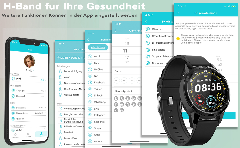 Smartwatch Smart Armband blutdruck uhr Fitness Tracker aktivitätstracker Sports Uhr smart armband