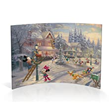 Mickey and Minnie Mouse Victorian Christmas Curved Acrylic Print Tabletop Decoration