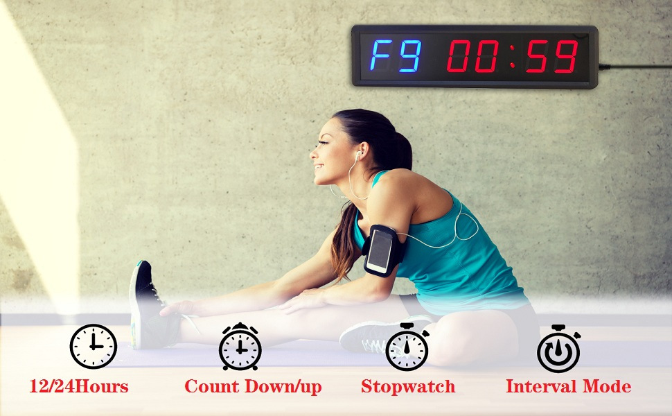 normal time countdown countup interval stopwatch gym timer clock