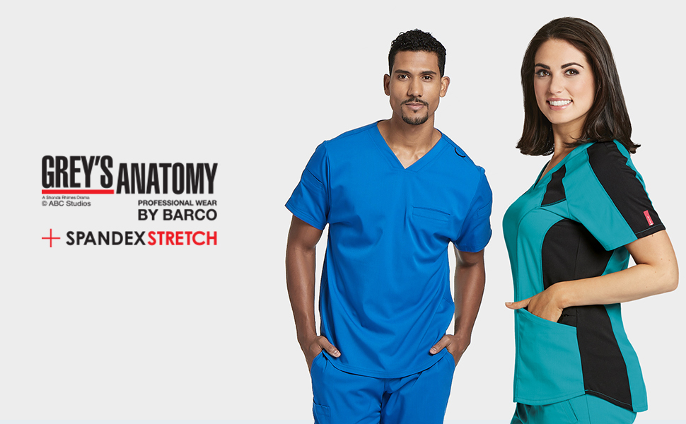 Two nurses wearing barco grey's anatomy scrubs