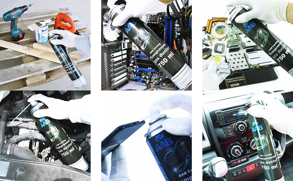 3 x AAB PC Spray Limpiador 750ml para Limpiar Teclados, Ordenadores, Copiadoras, Equipos Eléctricos, Spray Duster, Ideal para la Eliminación de Polvo, ...