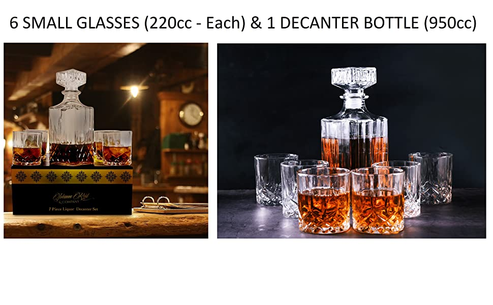 6 SMALL GLASSES (220cc - EACH) & 1 DECANTER BOTTLE (950cc)