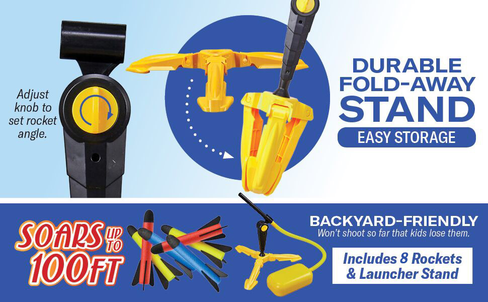 durable study stand launcher six foam rockets fly high