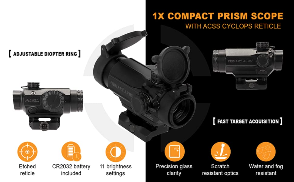 Primary Arms 1x Compact Prism Scope with ACSS Cyclops Reticle Red Illumination Features