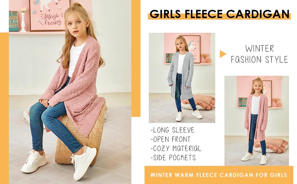 open front fleece cardigan long sleeve fuzzy knit kimono outerwear with pocket