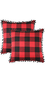 Buffalo Plaid Pillow Cover with Pompoms