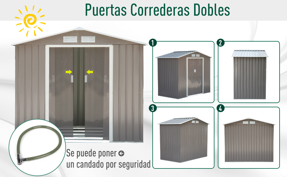 Outsunny Caseta de Jardín Tipo Cobertizo Metálico para Almacenamiento de Herramientas Base Incluida 4 Ventanas 213x127x185cm Acero: Amazon.es: Jardín