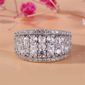 Jeulia wide diamond band rings 925 sterling silver engagement ring anniversary wedding christmas